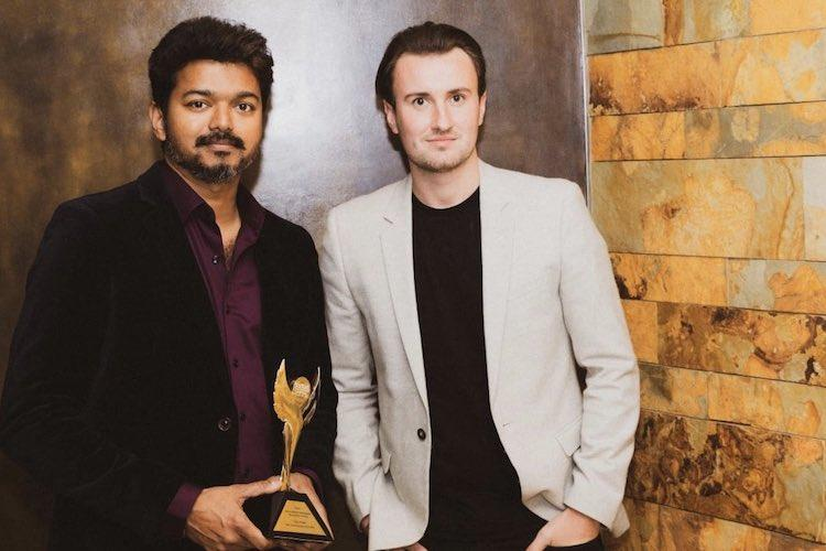 Vijay collects his IARA Award for Mersal in person