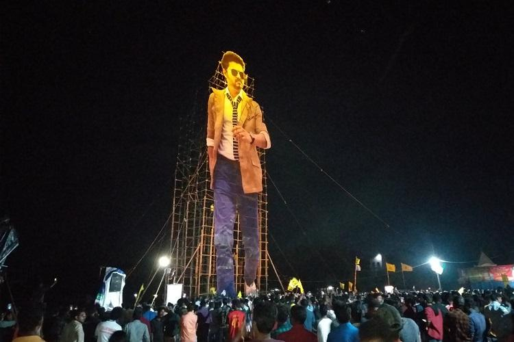 Kerala fans of Vijay erect 175-ft cut-out of the actor the tallest in the country