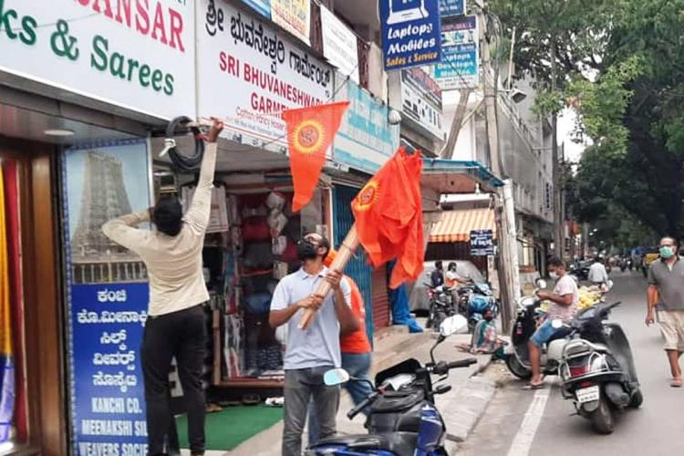 Saffron flags installed on shops in Bengaluru 5 complaints filed no FIR yet