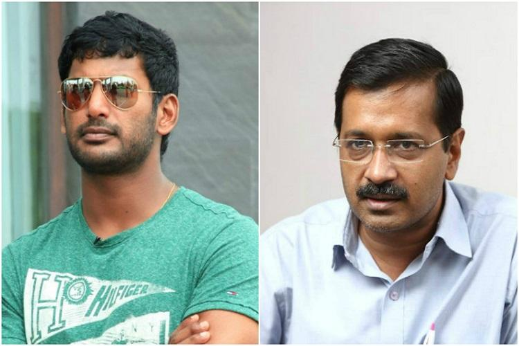 Latest political bromance Arvind Kejriwal and actor Vishal praise each other