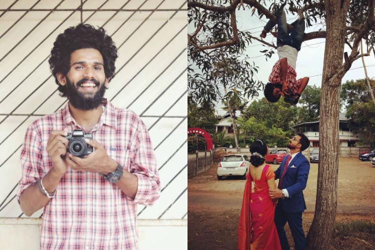 Seen viral video of photographer hanging upside down from tree Meet Vishnu from Kerala