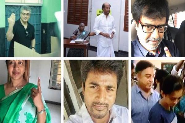 TN Polls Rajinikanth and Kamal Haasan among early voters on polling day