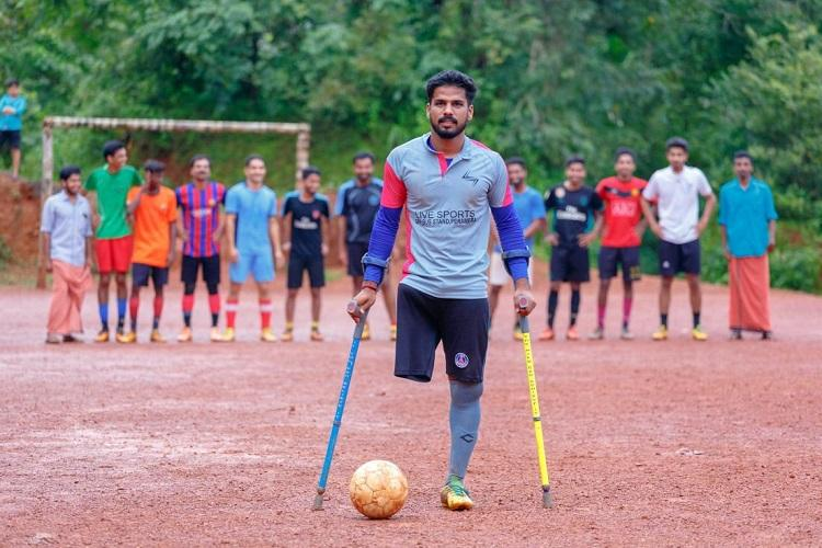 Kerala footballer lost a leg in an accident but it hasnt stopped him from playing