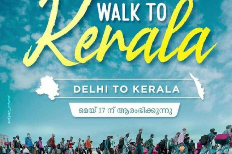 Poster of walk from Delhi to Kerala by students