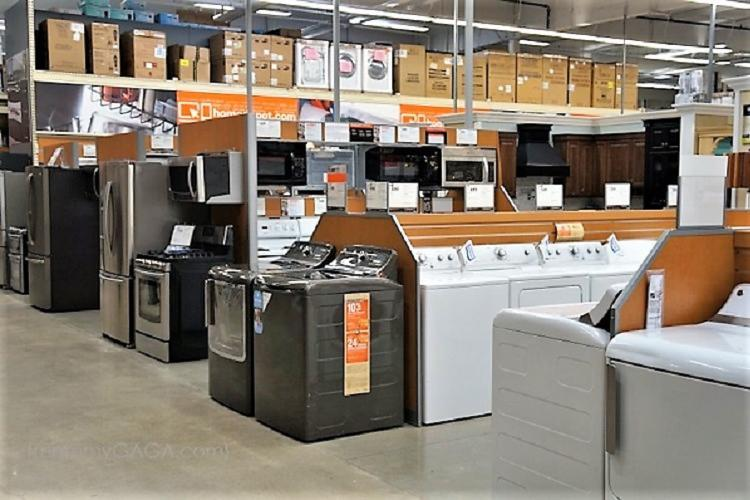 Home appliances in a showroom