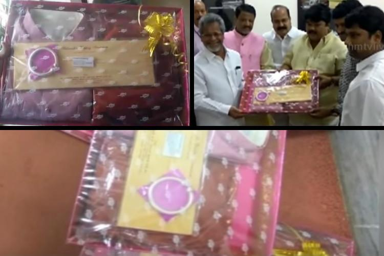 TRS MLCs grand invitation for his sons wedding A thick silver bangle and a sherwani