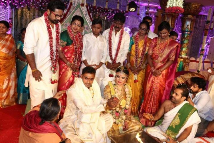 In pics Raadhika Sarathkumars daughter Rayane and cricketer Abhimanyu tie the knot