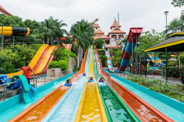 Water ride at an amusement park in Bengaluru