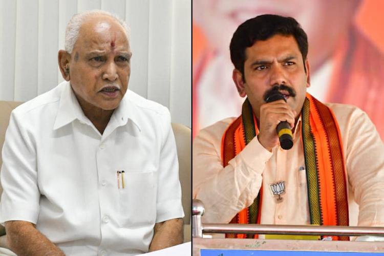A collage of former Karnataka CM BS Yediyurappa on the left and his second son Vijayendra on the right