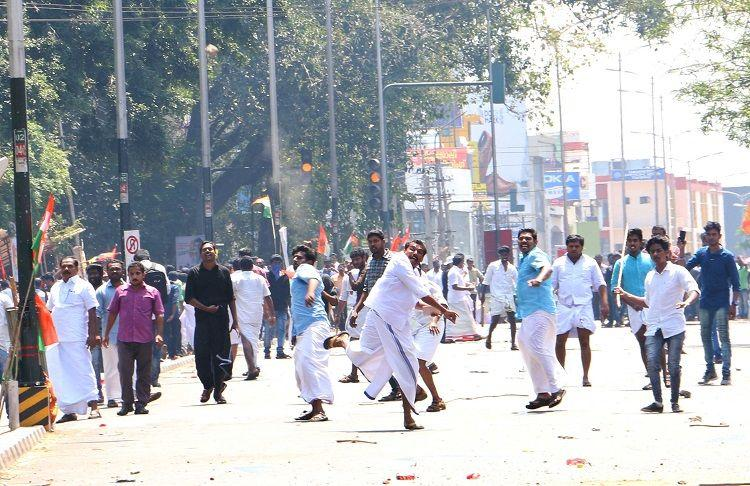 Shuhaib murder Kerala Youth Congress march turns violent workers clash with police