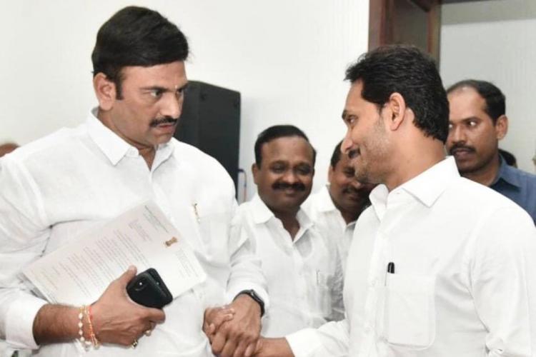 A moment between YSRCP MP Ramakrishna Raju and CM YS Jagan Mohan Reddy