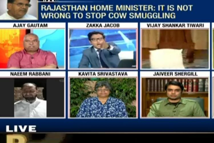 Get out of my show News18s Zakka Jacob loses it with VHP man during meat debate
