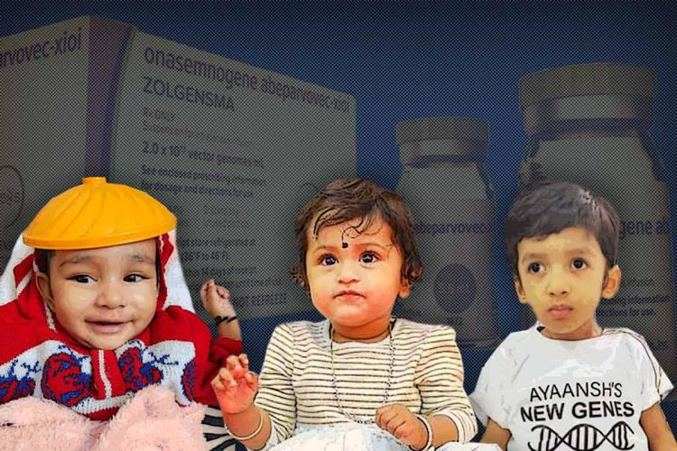 Collage of Baby Khyaati, Mithraa and Ayaansh against Zolgensma drug in the background