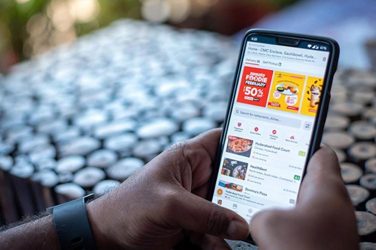 Zomato app on mobile