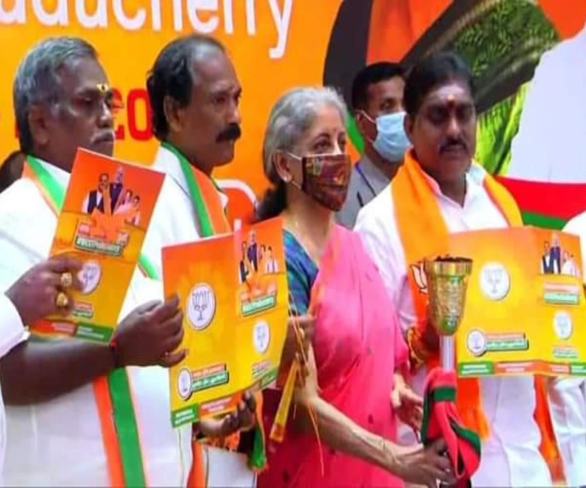 Nirmala Sitharaman releases BJP manifesto for Puducherry, promises special status