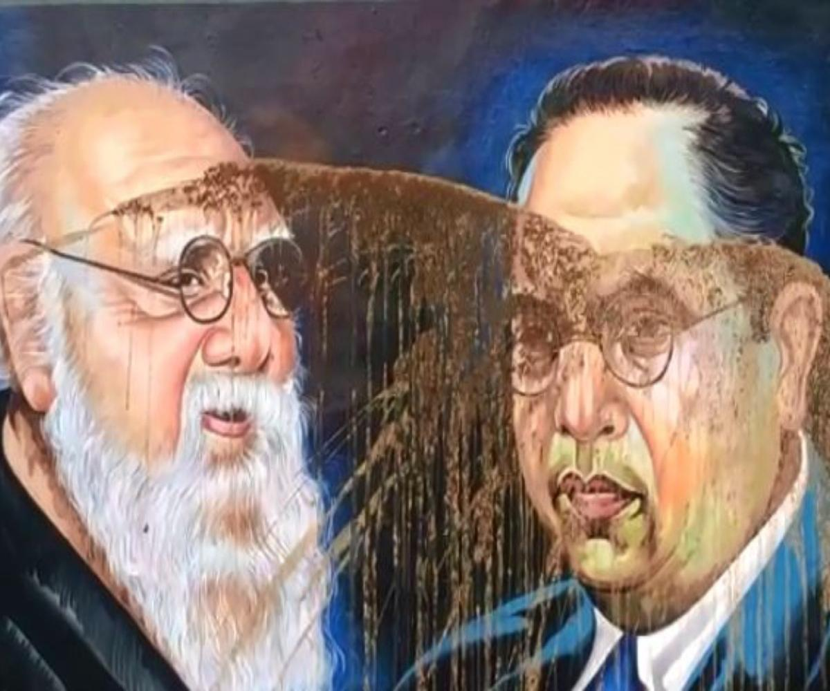Miscreants smear cow dung on images of Periyar and Ambedkar in Tamil Nadu