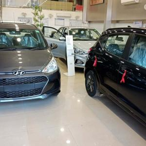Cars for sale in a car showroom