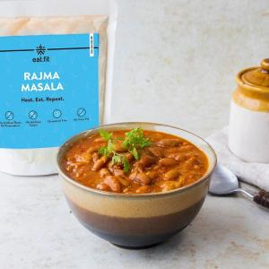 A packet and a bowl of Rajma Masala as part of eat fit's new range of products