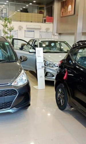 Cars parked in showroom