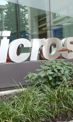 Microsoft logo outside one of its office