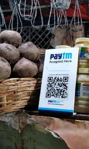Paytm QR code scanner at a vegetable store in Hyderabad