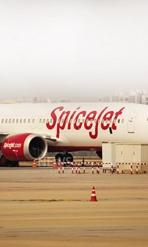 Spicejet flight on the airport tarmac