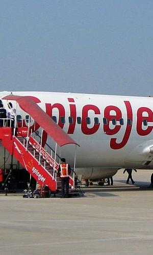 SpiceJet aircraft at Varanasi airport