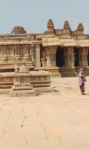 Touristts at a temple in Hampi
