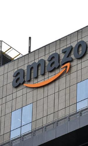 Amazon logo on top of a building in India