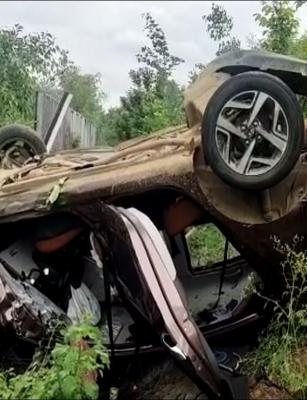 Family of five has narrow escape after car overturns along Hyderabad's ORR