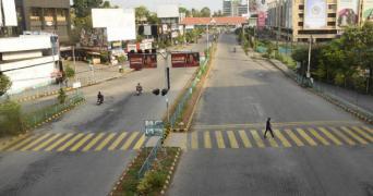 Deserted street in Kochi during lockdown