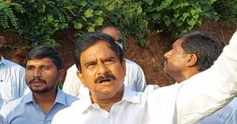Devineni Uma addressing the media from Kondapalli forest area
