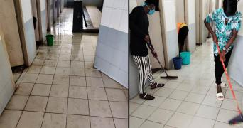 Chennai Corporation workers cleaning COVID centre after journo complains