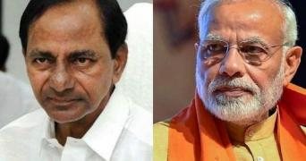 A collage of KCR and Narendra Modi