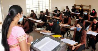 Karnataka college students listenig to lecture