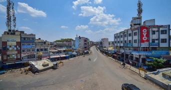 Bengaluru: A city street wears a deserted look during lockdown in the wake of coronavirus pandemic