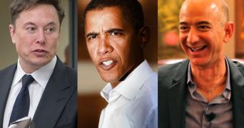 A collage image of Elon Musk, Barack Obama and Jeff Bezos whose Twitter accounts were hacked in a Bitcoin scam