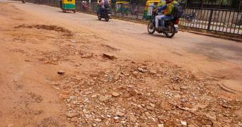 Damaged road near Ulsoor lake in Bengaluru