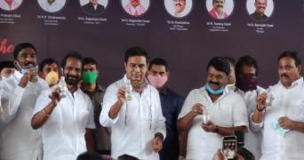 KTR and several other political leaders were seen drinking Neera in small bottles amid a crowd.
