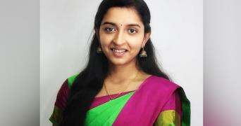 Youtuber Padmapriya in a green and pink saree, she was in controversy recently for a video she made on EIA