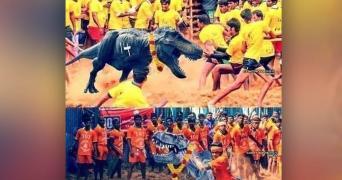 A meme of a dinosaur actually functioning as a Jallikattu bull in Tamil Nadu