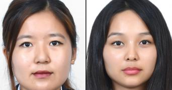 University toppers Sonam Chouksey on the left and Tenzin Choezom on the right