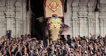 Elephant paraded during Thrissur Pooram amidst scores of people