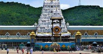 The Sri Venkateswara temple atop Tirumala in Andhra Pradesh