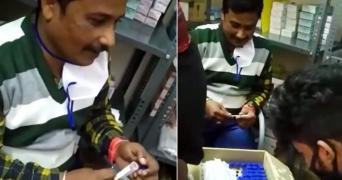 Screenshots of two BBMP contract staff members caught faking swab collection for COVID-19 tests