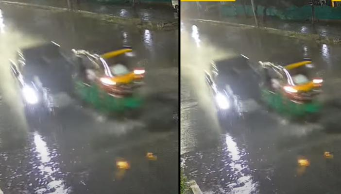 CCTV footage collage from Cyberabad accident in which a green coloured auto can be seen hit by an Audi car
