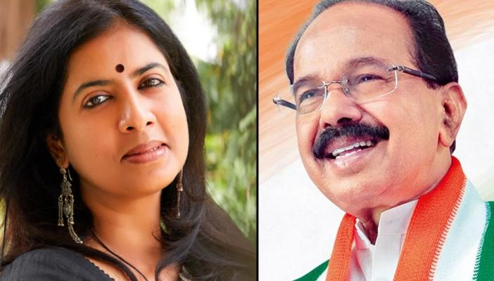 A collage of poet Arundhathi Subramaniam and politician-writer M Veerappa Moily