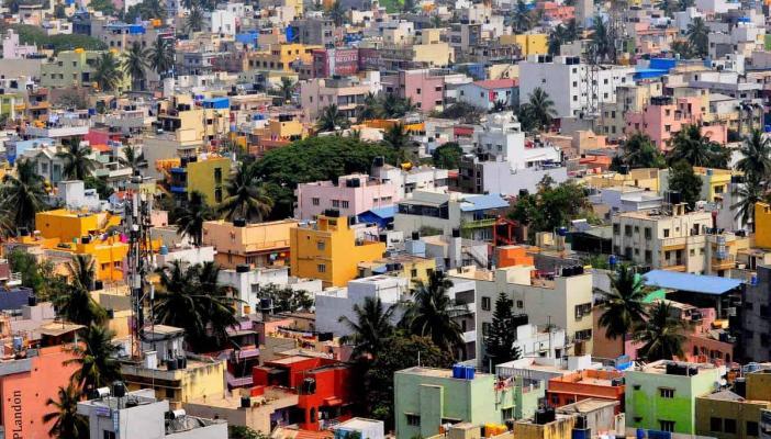 An overhead shot of buildings in Bengaluru