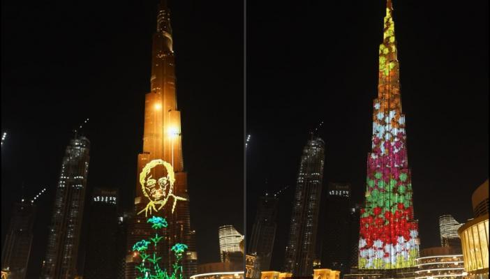 Images of Bathukamma and KCR displayed on Burj Khalifa