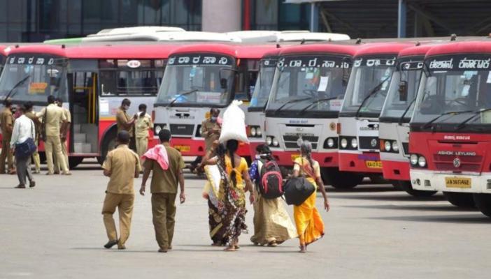 Passengers in KSRTC bus stop